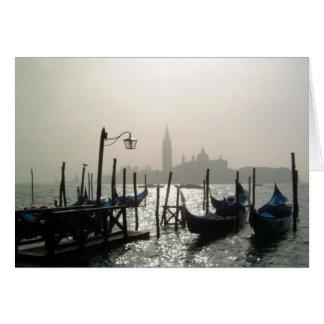 gondolas early morning card