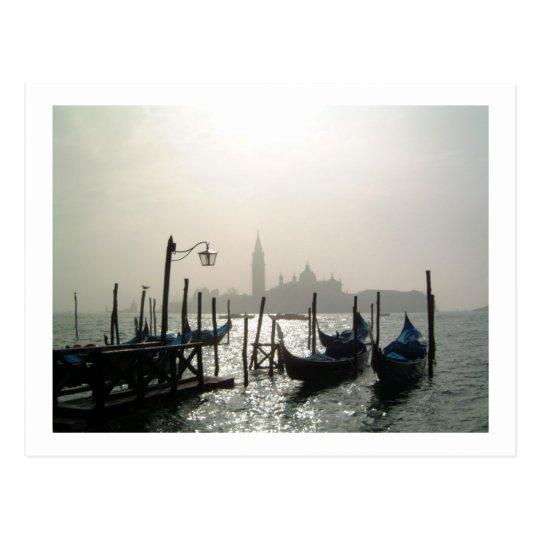 gondolas early morning postcard
