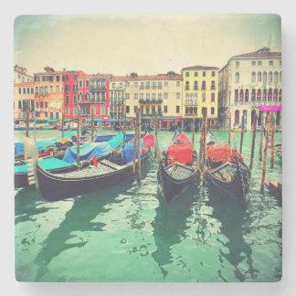 Góndolas en el Gran Canal, Venecia, Italia. Retro Posavasos De Piedra