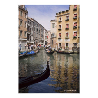 Gondolas in a canal, Venice, Italy Poster