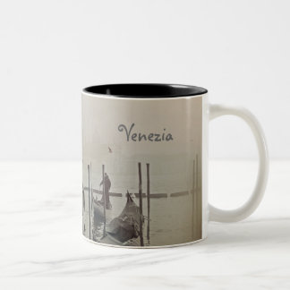 Gondolas in the fog, Venice, Italy Two-Tone Coffee Mug