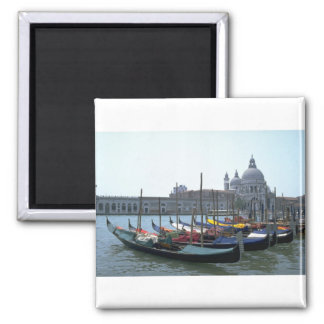 Gondolas in the Grand Canal, Venice, Italy 2 Inch Square Magnet