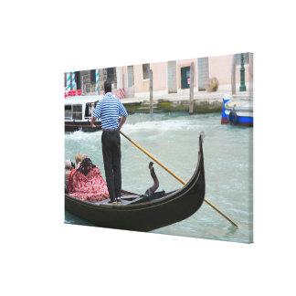 Gondolas in Venice canal Canvas Print