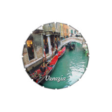 Gondolas On A Small Canal From Venice, Italy Jelly Belly Candy Tin