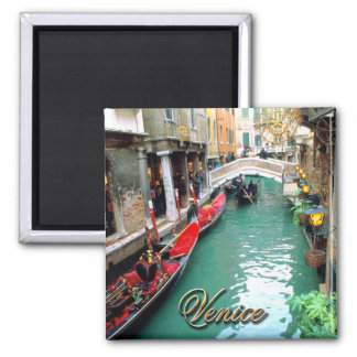 Gondolas on a Venetian canal 2 Inch Square Magnet