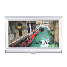 Gondolas on a Venetian canal Case For Business Cards