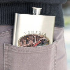 Gondolas on a Venetian canal Hip Flask