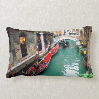 Gondolas on a Venetian canal Lumbar Pillow