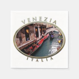 Gondolas on a Venetian canal Paper Napkin