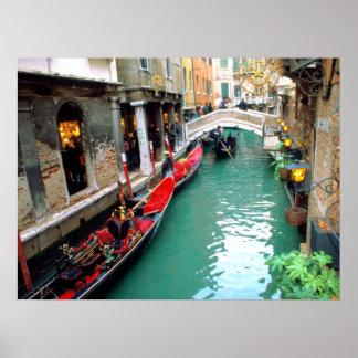 Gondolas on a Venetian Canal Poster
