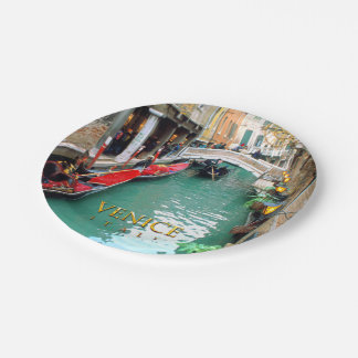 Gondolas on a Venetian canal 7 Inch Paper Plate