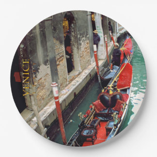 Gondolas on a Venetian canal 9 Inch Paper Plate