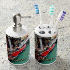 Gondolas on a Venetian canal Soap Dispenser & Toothbrush Holder