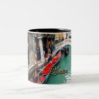 Gondolas on a Venetian canal Two-Tone Coffee Mug
