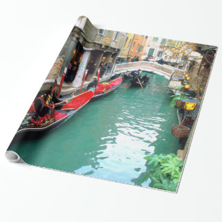 Gondolas on a Venetian canal Wrapping Paper