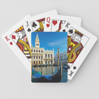Gondolas On Grand Canal Near Doge's Palace Playing Cards