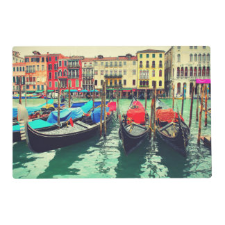 Gondolas On Grand Canal, Venice, Italy. Retro Placemat