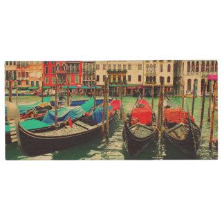 Gondolas On Grand Canal, Venice, Italy. Retro Wood Flash Drive