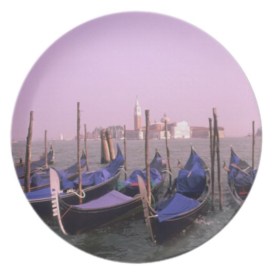 Gondolas ready for tourists in Venice Italy Melamine Plate