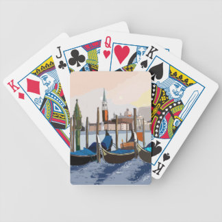 Gondolas tethered by St Marks Square Venice Bicycle Playing Cards