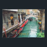 "Gondolas- Venice, Italy Kitchen Towel<br><div class=""desc"">Beautiful gondolas floating peacefully on a small Venetian canal.</div>"