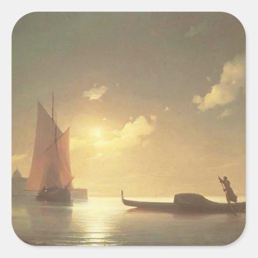 Gondolero de Ivan Aivazovsky- en el mar por noche Calcomanía Cuadradase
