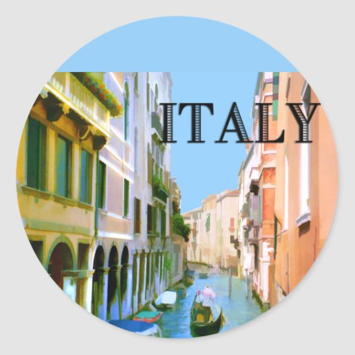 Gondolero en canal en Venecia ITALIA Pegatina Redonda