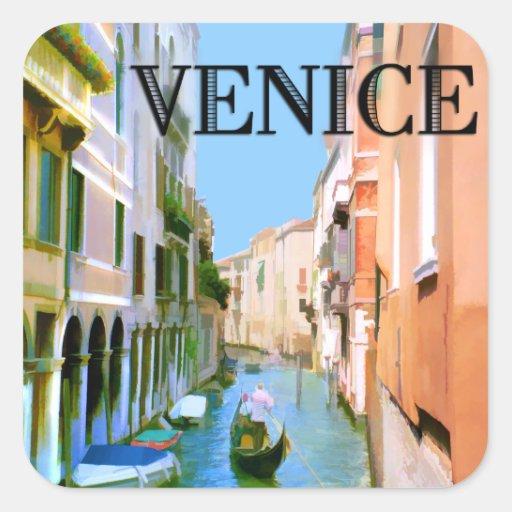 Gondolero en canal en Venecia Calcomanía Cuadradas Personalizada