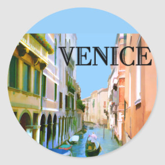 Gondolero en canal en Venecia Pegatina Redonda