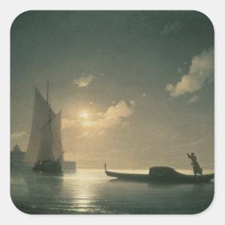 Gondolero en el mar por la noche, 1843 pegatina cuadrada