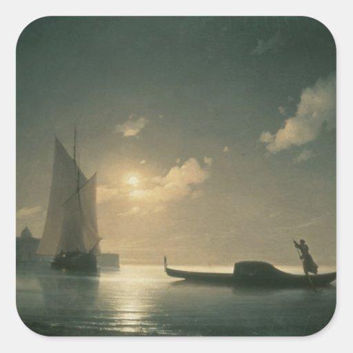 Gondolero en el mar por la noche, 1843 calcomanías cuadradas personalizadas