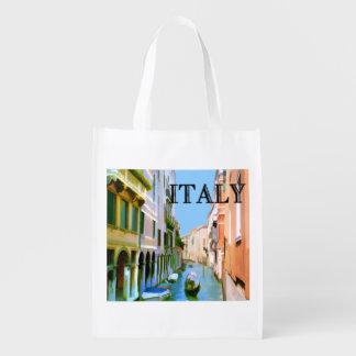 Gondolero en el TEXTO Italia del canal de Venecia Bolsa Reutilizable