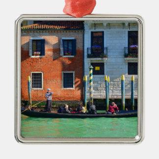Gondolero veneciano adorno cuadrado plateado