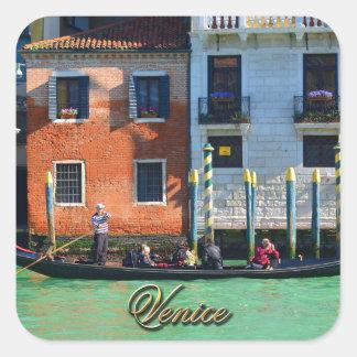 Gondolero veneciano pegatina cuadrada