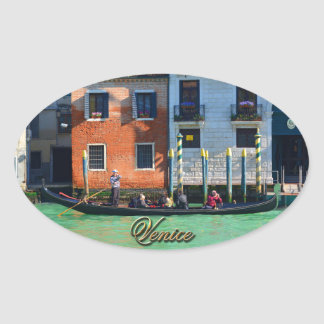 Gondolero veneciano pegatina ovalada