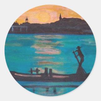 Gondoleros de Venecia Pegatina Redonda