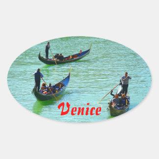Gondoleros venecianos pegatina ovalada