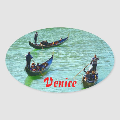 Gondoleros venecianos calcomanías ovales personalizadas