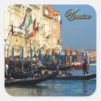 Gondoleros venecianos pegatina cuadrada