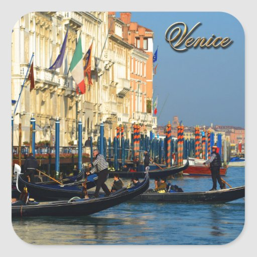 Gondoleros venecianos calcomania cuadradas personalizada
