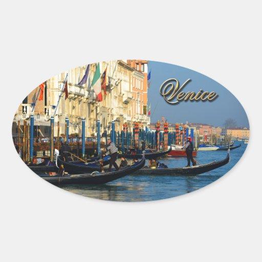Gondoleros venecianos calcomanías ovales