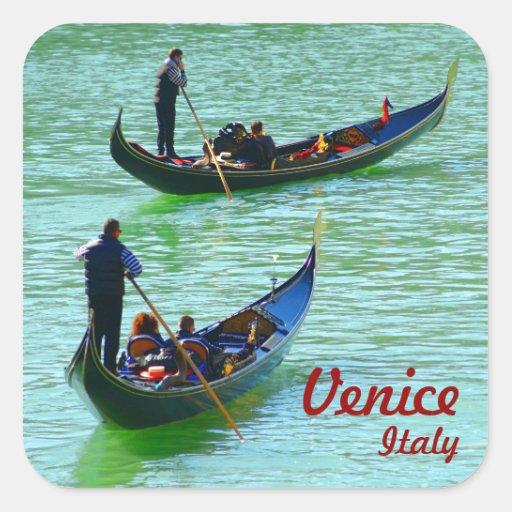Gondoleros venecianos calcomanías cuadradas