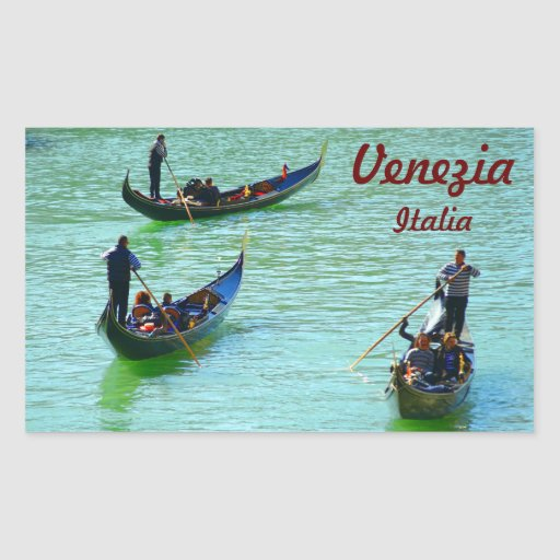 Gondoleros venecianos rectangular pegatinas