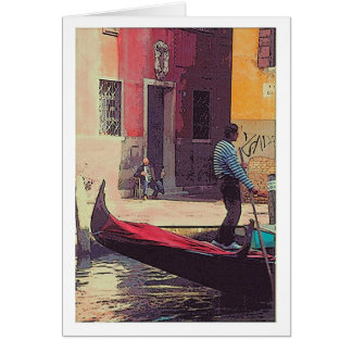 GONDOLIER, ACCORDIAN PLAYER, VENETIAN CANAL STATIONERY NOTE CARD