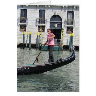 Gondolier and Gondola in Venice, Italy Card