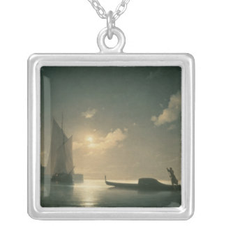 Gondolier at Sea by Night, 1843 Silver Plated Necklace