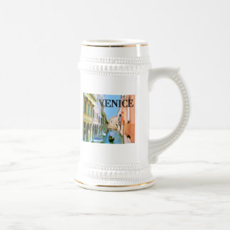 Gondolier in Canal in Venice Beer Stein