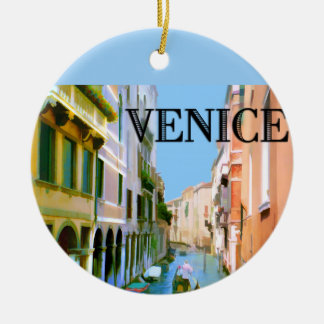 Gondolier in Canal in Venice Christmas Tree Ornaments