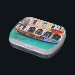 """Gondolier in Cannaregio Jelly Belly Tin<br><div class=""""desc"""">Elegant gondolas parked by the shore,  floating peacefully on the blue water on a small canal in the Cannaregio district,  from Venice,  Italy.</div>"""