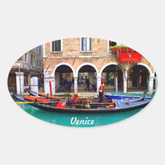 Gondolier in Cannaregio Oval Sticker
